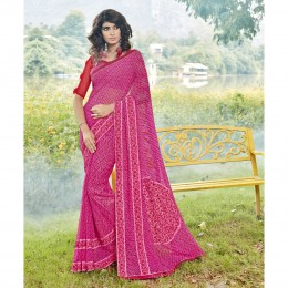 Fine Georgette Pink Printed Casual Wear Saree