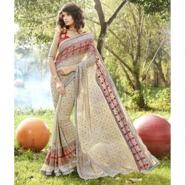 Grey Georgette Printed Casual Wear Sarees