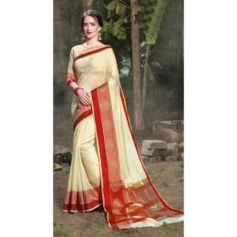 Art Silk Woven Casual Wear Saree In Beige