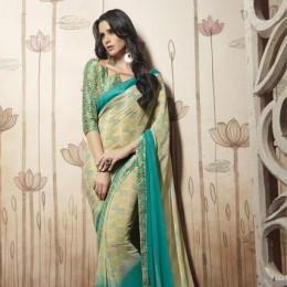 Beige and Green Printed Casual Saree