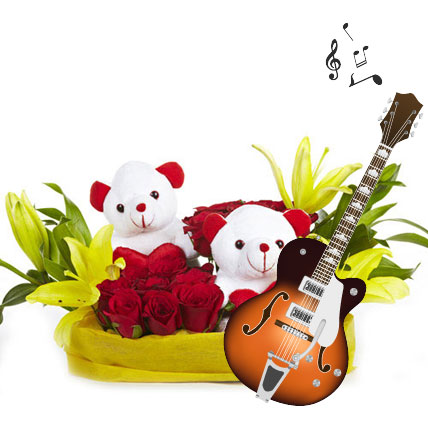 Musical Tenderness-12 roses,2 asiatic lilies