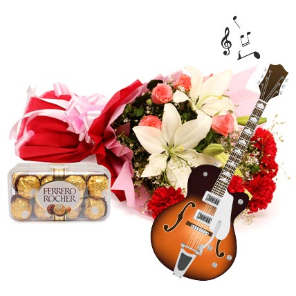 The Music of Romance-2 asiatic lilies,5 carnations and 5 roses