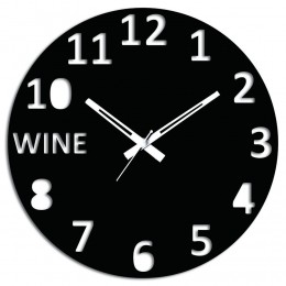 Wine Wall Clock Black