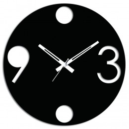 Round Black Wooden Wall Clock