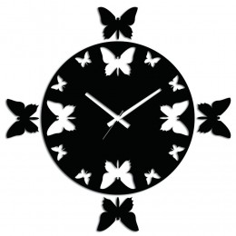 Black N White Butterfly Wall Clock