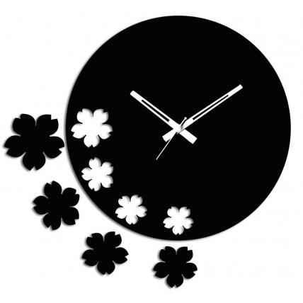 Black N White Flowers Wall Clock
