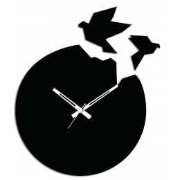 Flying Birds Black Wall Clock