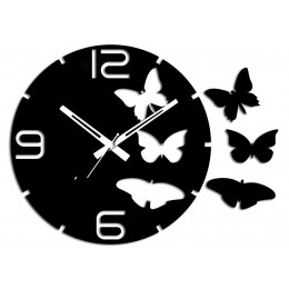 Butterflies Oval Black Wall Clock