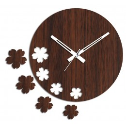 Brown Flowers Wall Clock