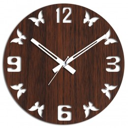 Butterflies Wall Clock Brown