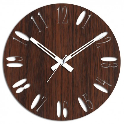 Brown Wooden Wall Clock For Home Decor