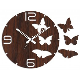 Butterflies Oval Brown Wall Clock
