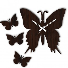 Butterfly Brown Wall Clock