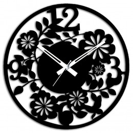Black Floral Wall Clock