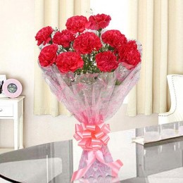 10 Passionate Pink Carnations Bouquet