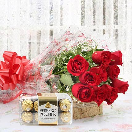 Red Roses And Rocher Combo