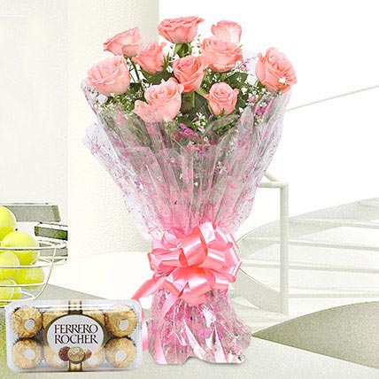 Pink Roses And Rocher Combo
