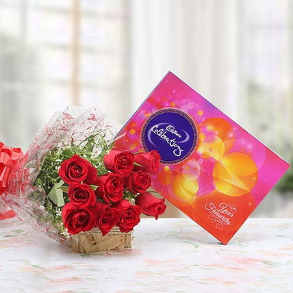 Red Roses With Cadbury Celebrations