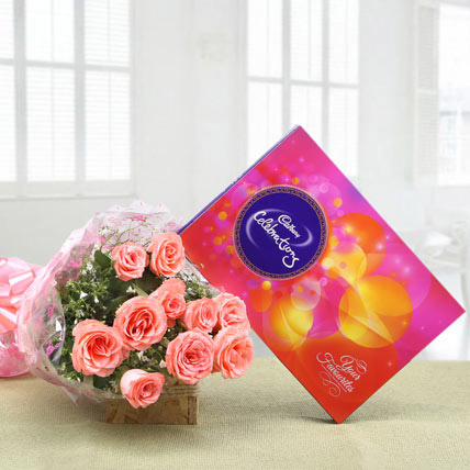 Pink Roses With Cadbury Celebrations