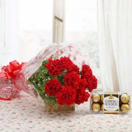 Red Carnations And Ferrero Rocher