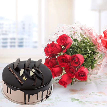 Red Roses And Chocolate Cake Combo Standard