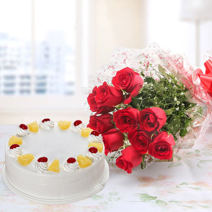 10 Red Roses And Eggless Pineapple Cake Combo