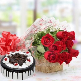 Combo of Red Roses And Eggless Black Forest Cake