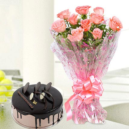 10 Pink Roses And Chocolate Cake Combo