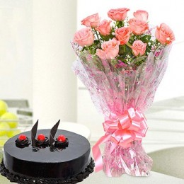 10 Pink Roses And Truffle Cake Combo