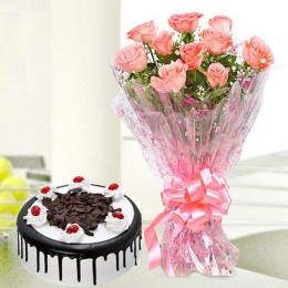 10 Pink Roses And Eggless Black Forest Cake