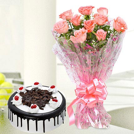 10 Pink Roses And Black Forest Cake Standard