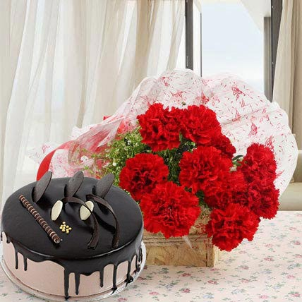 Red Carnations With Chocolate Cake