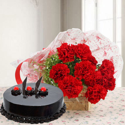 Red Carnations And Eggless Truffle Cake