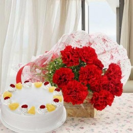 Red Carnations And Pineapple Cake