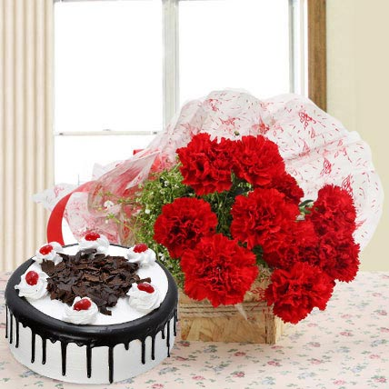 Red Carnations And Eggless Black Forest Cake