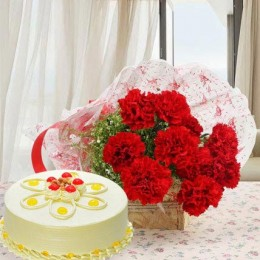 Red Carnations And Eggless Butterscotch Cake