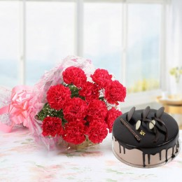 Pink Carnations And Chocolate Cake