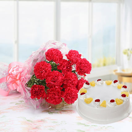 Pink Carnations And Eggless Pineapple Cake