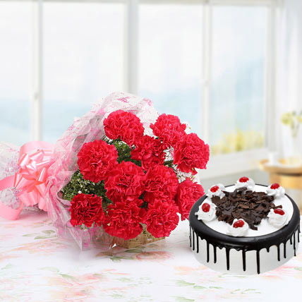 Eggless Black Forest Cake With Pink Carnations