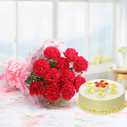 Pink Carnations With Butterscotch Cake Standard