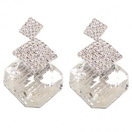 Silver Plated Rhombus Shaped Stud Earrings
