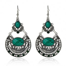 Antique Silver Plated Green Earrings