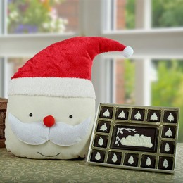 Sweet Santa Cushion N Chocolate Combo