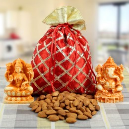 Lakshmi N Ganesha with Almonds