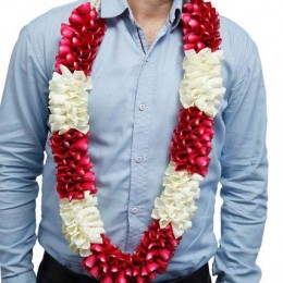 Red and White Flower Garland