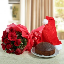 Plum Cake N Red Roses Bouquet