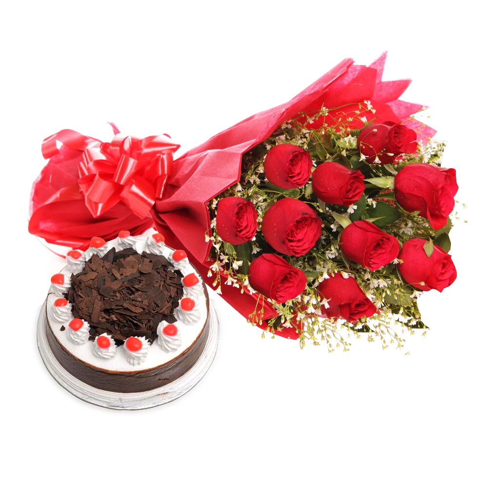 My Sweet Bouquet- Bunch Of 10 Red Roses In A Paper Packing With Red Colour Rib