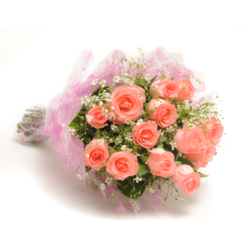 Elegance bunch of 12 baby pink roses in pink packing paper elegance izmirmasajfo Image collections