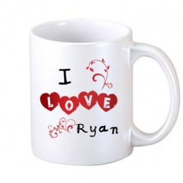 I Love Personalized Coffee Mug