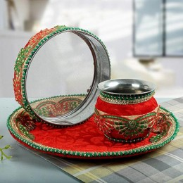 Decorated Karwa Chauth Thali Red